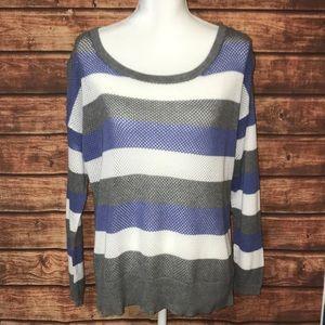 •Torrid• Striped Crochet 3/4 Sleeve Sweater
